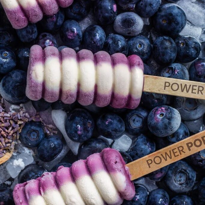 blueberry yogurt pops with a powerpops stick on top of frozen blueberries and ice with lavender